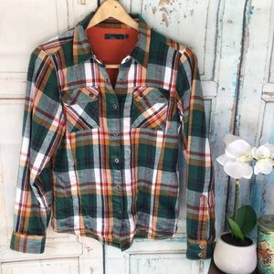 Prana Bridget lined flannel shirt teal orange S